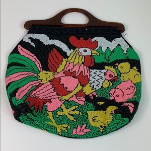Large beaded tote bag retro kitschy rooster/chicks